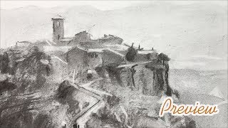 Charcoal drawing techniques - landscape drawing of a village - short