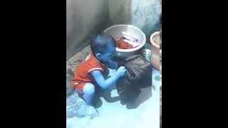 Odia funny baby clean cloth videos