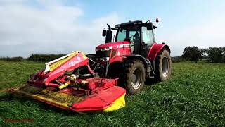 Mowing for Fourth-Cut Silage with MF 6616 Pottinger and Krone.