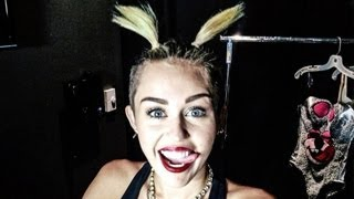 Miley Cyrus Twerking, Sticking Tongue Out and Fan Moments - Rewind 2013