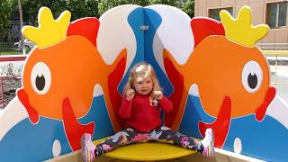 Little Diana plays on the Outdoor  Payground, Three little kittens song