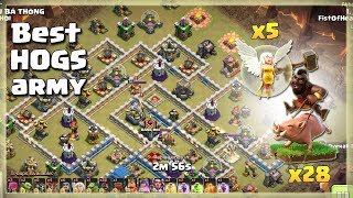 Best HOGS Army: 28 HOGS+5 HEALERS | TH12 War Strategy #76 | COC 2018 |