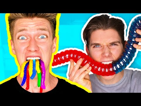 Gummy Food vs. Real Food Challenge EATING LIVE WORMS Giant Gummy Worm Gross Real Food Candy