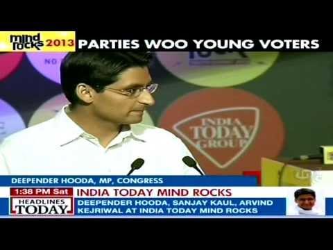 Deepender Singh Hooda, MP, Haryana speaking at India Today's Youth Summit, MindRocks