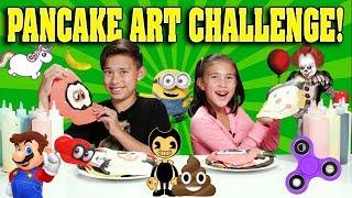 PANCAKE ART CHALLENGE!!! Bendy, Minions, Pennywise, Super Mario Odyssey, Emoji, Unicorn!