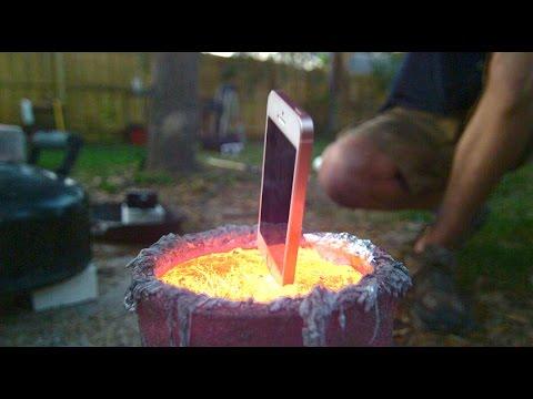 iPhone in Molten Aluminum