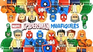 Spider-Man Web Warriors vs Fearsome Foes LEGO KnockOff Minifigures w/ Stan Lee & Captain America