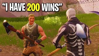 NOOB CAUGHT LYING ABOUT HIS FORTNITE WINS! (He JUST Started Playing)