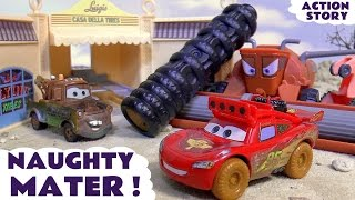 Disney Cars Toys McQueen searches for naughty Mater who annoys Frank | Family Friendly kids fun TT4U