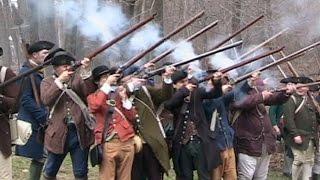 Re-enactment of British Redcoats vs. Local Militiamen at Lexington, MA