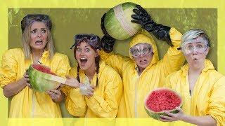 Exploding Watermelon Challenge (ft. Hannah Hart, Mamrie Hart & Grace Helbig)   Tyler Oakley
