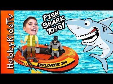 Biggest SHARK WEEK EGG Boat Fishing For Toys Adventure Shark Imaginext Animal Planet HobbyKidsTV