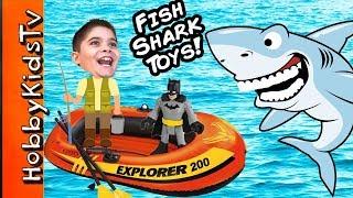 Biggest SHARK WEEK EGG! Boat Fishing For Toys Adventure + Shark Imaginext Animal Planet HobbyKidsTV