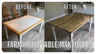 DIY Dining Room Table Makeover - Farmhouse Table Edition
