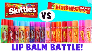 Lip Balm Battle! Skittles VS. Starburst- Which Candy Flavored Lip Smackers is Best?