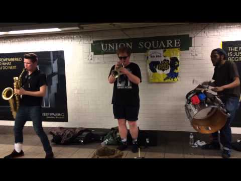 Sax, Trumpet, Drums in Union Square NYC Subway Station