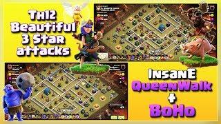 Insane QueenWalk+Bowler+Hogs= TH12 Beautiful War Army | TH12 War Strategy #49 | COC 2018 |