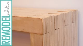 Modern Plywood Bench with Lap Construction