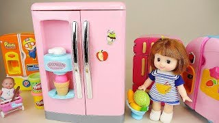 Baby doll refrigerator and play doh food play  Baby Doli play
