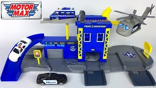 MAISTO VEHICLES - MOTOR MAX POLICE STATION SET WITH HELICOPTER RAMPS PARKING & ELEVATOR - UNBOXING