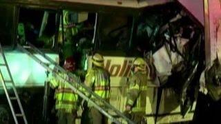 Tour bus and semi-truck collide in California