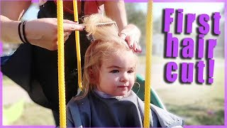 👶BABY'S FIRST HAIR CUT✂️ (IN A SWING!)