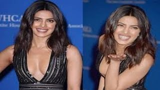 Priyanka Chopra Shows Off HOT Deep Cleavage In Black Gown At White House Dinner With Barack Obama