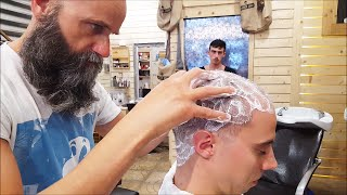 Old School Italian Barber - Head shave with shavette, hot towel and massage  - ASMR intentional