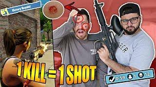 1 KILL = 1 SHOT BLOODY PAINTBALL FORTNITE CHALLENGE!! **I GOT HIT IN THE HEAD**