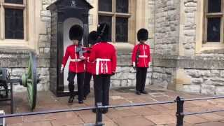 Changing the Queen's Life Guard at Tower of London - HD