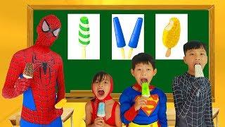 School colors Spiderman tripped in Classroom Masha Eat ice cream w/ Elsa Paint Banana Learn Color