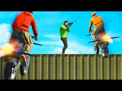 SNIPE THE IMPOSSIBLE FLYING BIKES GTA 5 Funny Moments