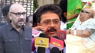 Actor Sathyaraj and SV Sekar  after visiting DMK leader Karunanidhi at Kavery hospital