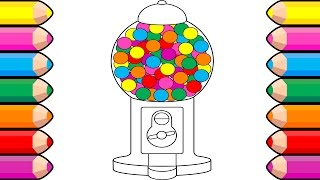 Bubble Gum Coloring Book | Drawing Gumball Machines | Art Colors for Kids with Colored Markers