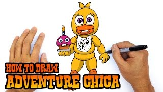 How to Draw Adventure Chica (FNAF World)- Easy Art Lesson