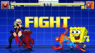 Spider-Man And SpongeBob SquarePants VS Elmo And Ms. Marvel In A MUGEN Match / Battle / Fight