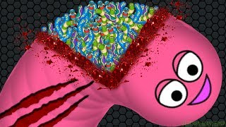 Wormate.io 1 Giant Monster Worm vs. 27722 Invasion Worms | Wormateio Best Trolling Gameplay!