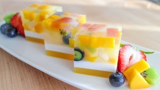 Agar Jelly Fruit Cake Recipe เค้กวุ้นผลไม้ - Hot Thai Kitchen!