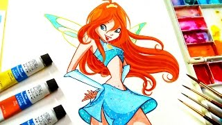 Drawing and paint Bloom from winx club✿magic winx bloom ✿