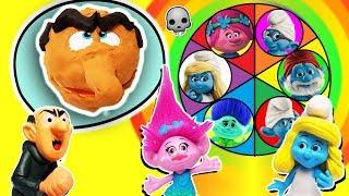 Trolls & Smurfs Spin The Wheel Game w PlayDoh Drill N Fill Gargamel, Poppy, Smurfette & Brainy Toys!