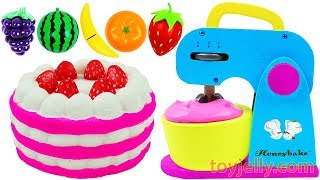 Play Doh Strawberry Cake Blender & Mixer,Just Like Home Microwave Oven Playset Learn Colors for Kids