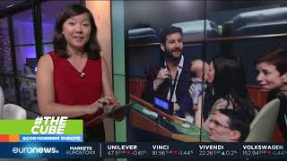 Baby Neve watches PM Jacinda Ardern