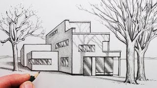 How to Draw a House in 1-Point Perspective with Trees and Shadows