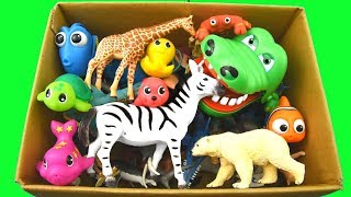 Learn Colors With Wild Animals in a Box and Shark Toys For Kids