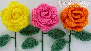 Download DIY Learn How to Crochet a Beginner Easy Flower - Rose Rosas Bouquet Flowers Leaf Leaves Stem 3Gp Mp4