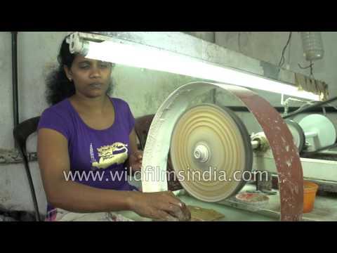 Moonstone shaping and polishing in Sri Lanka