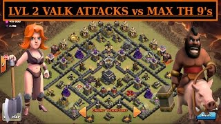 "Low Level VALK & HOGS vs MAX TH9. ""THE GIZA"" War Attacks. Clash of Clans Valkyrie . Queen Walk"