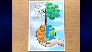 How to draw SAVE WATER SAVE NATURE Step by step