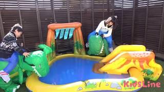 恐竜に乗って鬼ごっこ 公園で遊んだよ♫ こうくんねみちゃん Ride on Dinosaur Play Outside