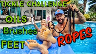 Feet TICKLE CHALLENGE, ropes ties, oils, brushes!